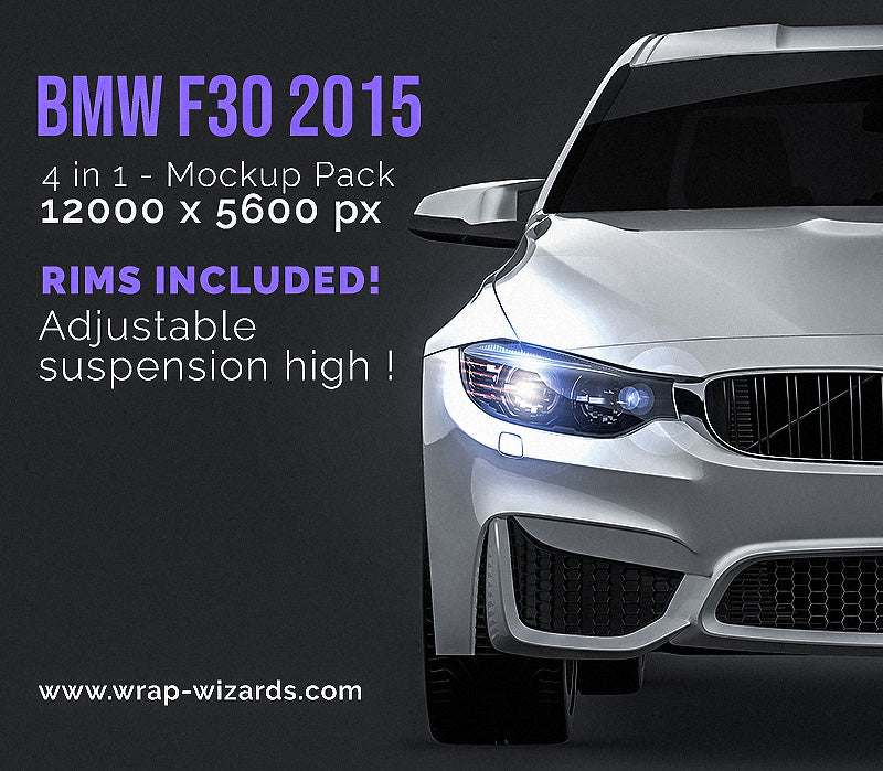 BMW F30 sedan 2015 all sides Car Mockup Template.psd