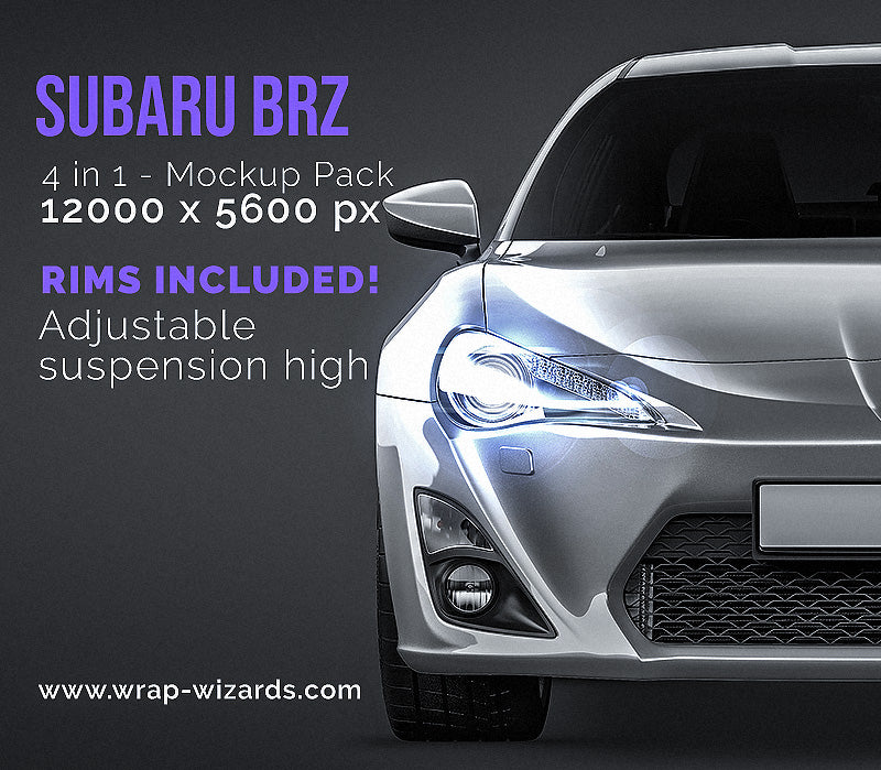 Subaru BRZ all sides Car Mockup Template.psd