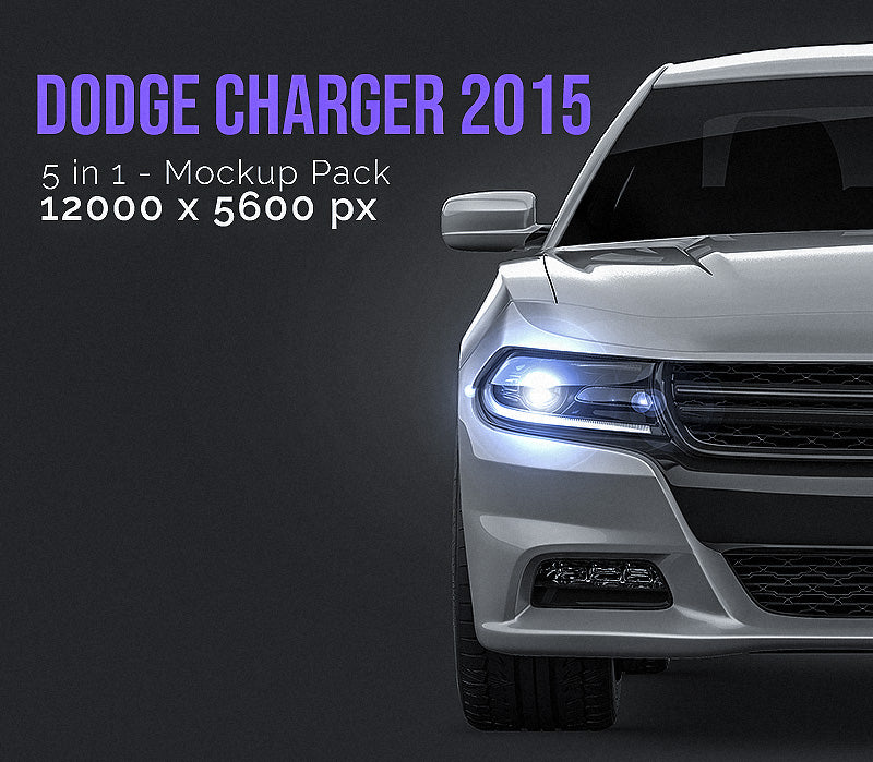 Dodge Charger 2015 all sides Mockup Template.psd