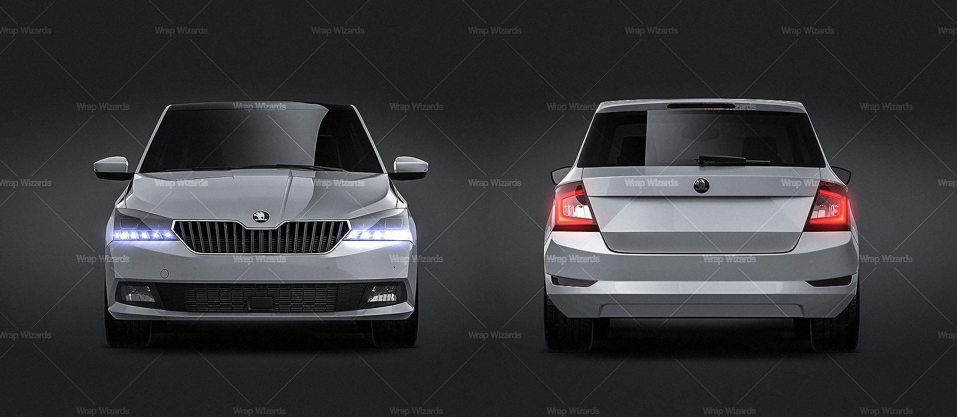 Skoda Fabia 2019 all sides Car Mockup Template.psd