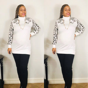 "The ""Leopard Queen"" Turtleneck (White)"