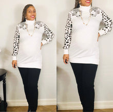 "Load image into Gallery viewer, The ""Leopard Queen"" Turtleneck (White)"