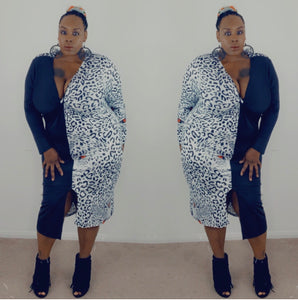 "The "" Black & White Leopard"" Midi Dress"