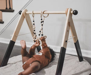 WHITE bb gym + hanging toys
