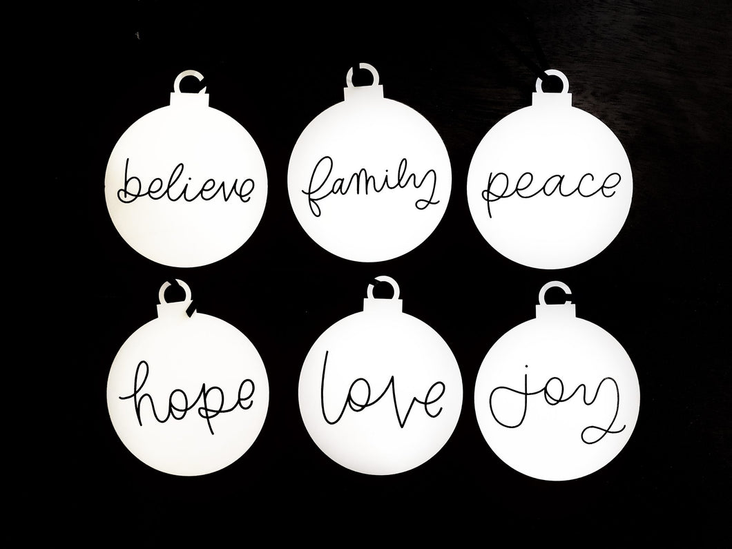 MINIMALISTIC hand-lettered ornaments