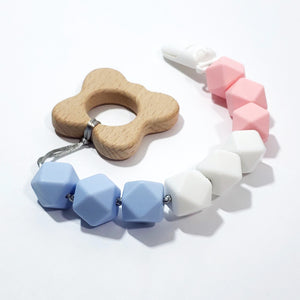 a blue, white and pink pregnancy and infant awareness butterfly teether clip