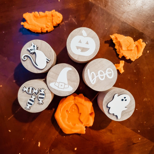 SPOOKY play dough stamps