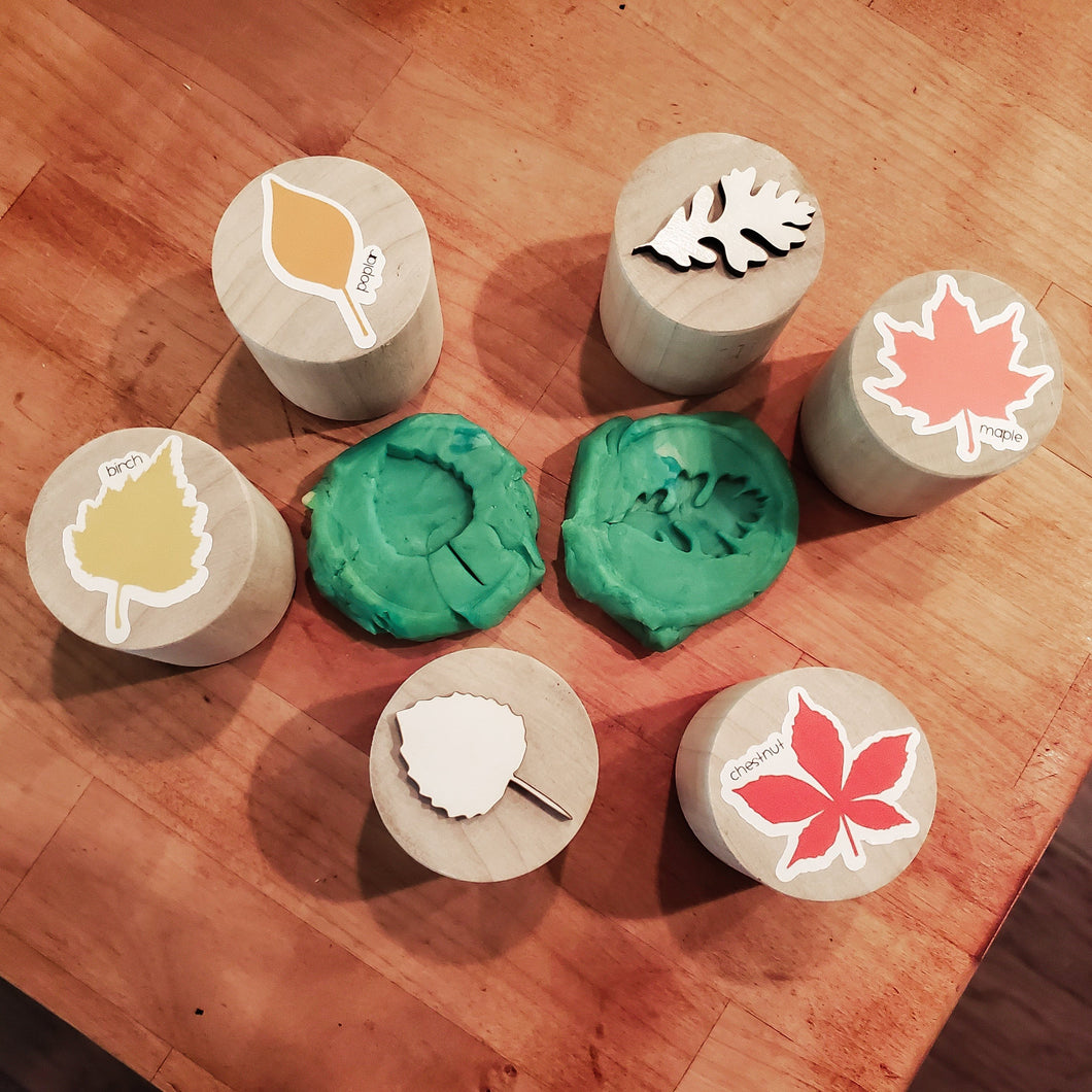 FALL LEAVES play dough stamps