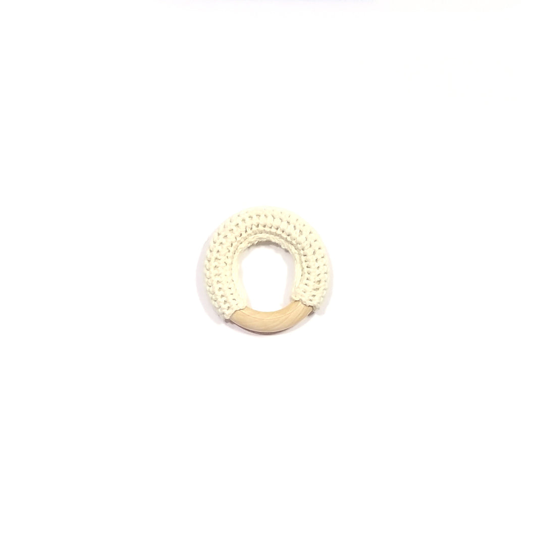 BEIGE crochet wooden ring