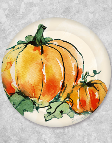 Watercolor Pumpkins Dinner Plates (18 Count)