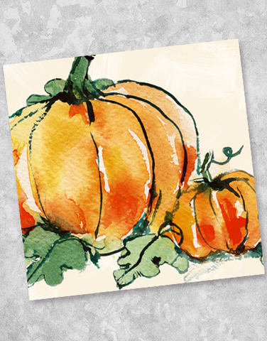 Watercolor Pumpkins Beverage Napkins (40 Count)