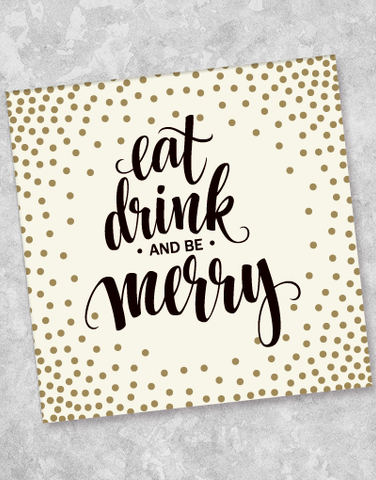 Eat Drink & Be Merry Beverage Napkins (40 Count)