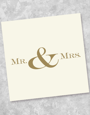 Golden Mr & Mrs Beverage Napkins (40 Count)