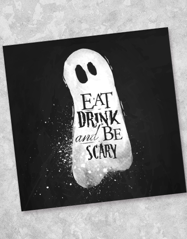 Eat Drink & Be Scary Ghost Beverage Napkins (40 Count)