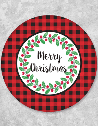 Buffalo Plaid Christmas Dessert Plates (18 Count)
