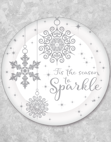 Twinkling Snowflakes Silver Dinner Plates (18 Count)