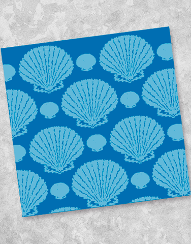 Blue Scallop Shells Beverage Napkins (40 Count)