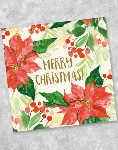 Watercolor Poinsettia Christmas Beverage Napkins (40 Count)