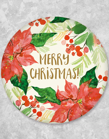 Watercolor Poinsettia Christmas Dessert Plates (18 Count)