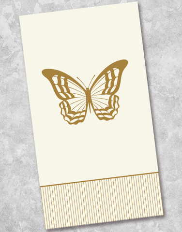 Golden Butterfly Guest Towel Napkins (40 Count)