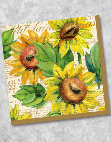 Sunflower Watercolor Beverage Napkins (40 Count)