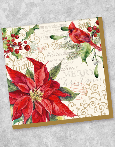 Poinsettia & Cardinal Beverage Napkins (40 Count)