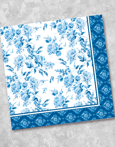 Blue Porcelain Beverage Napkins (40 Count)