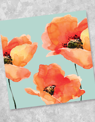 New Poppies Beverage Napkins (40 Count)