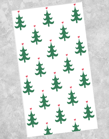 Christmas Heart Trees Guest Towel Napkins (40 Count)