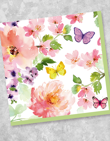 Butterflies & Blossoms Luncheon Napkins (40 Count)
