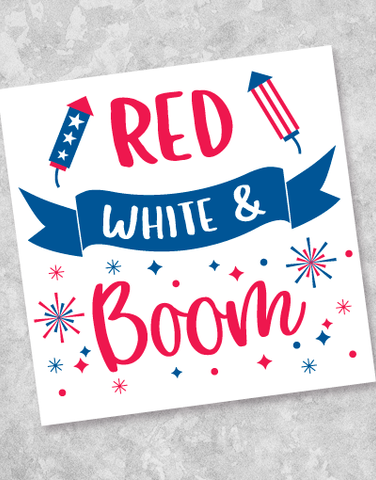 Red White and Boom Beverage Napkins (40 Count)