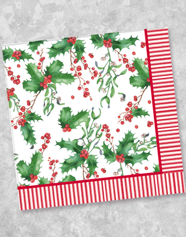 Holiday Watercolor Holly Beverage Napkins (40 Count)