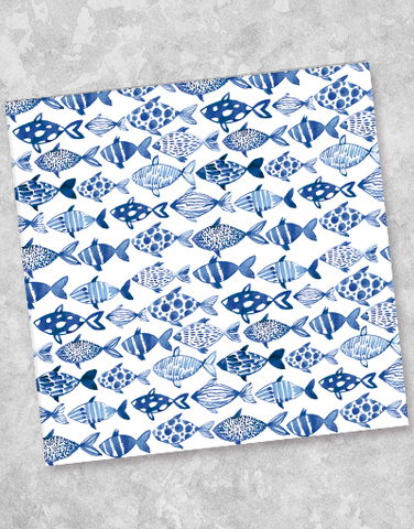 Watercolor Fish Beverage Napkins (40 Count)