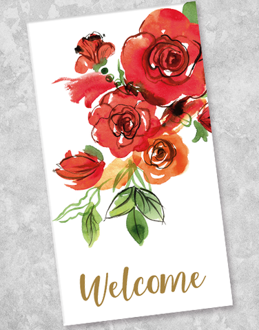 Floral Welcome Guest Towel Napkins (40 Count)