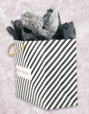 Black & Gold Stripes Birthday (Market) Gift Bags