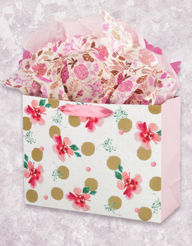 Gold Dots and Flowers (Market) Gift Bags