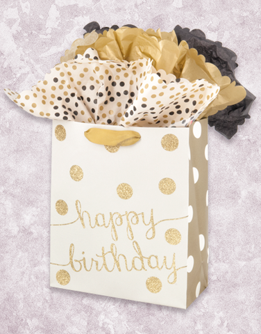 Cream and Gold Birthday (Garden) Gift Bags