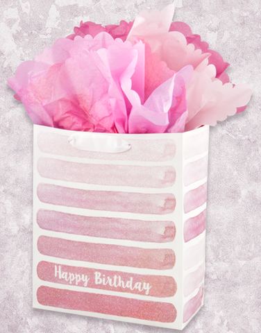 Pink Watercolor Birthday Stripes (Garden) Gift Bags