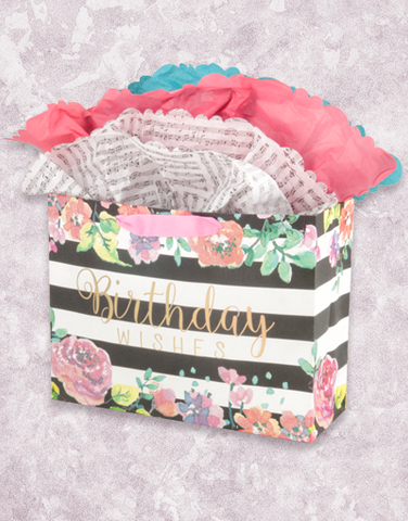 Striped Floral Birthday (Market) Gift Bags