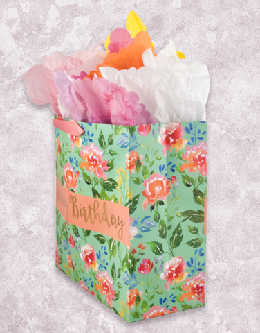 Watercolor Floral Birthday Square Jumbo Gift Bags