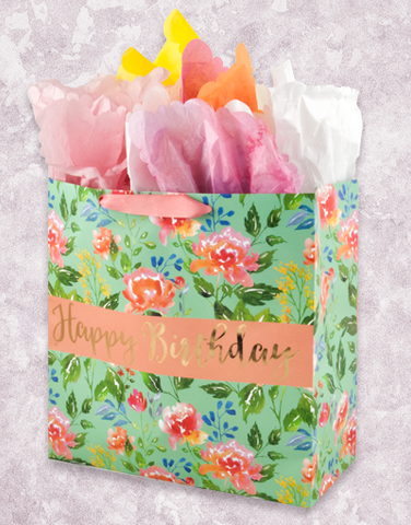 Watercolor Floral Birthday (Square Jumbo) Gift Bags