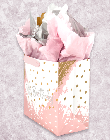 Birthday Brushstrokes (Medium Square) Gift Bags
