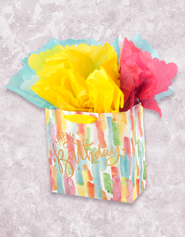 Watercolor Birthday Fun (Medium Square) Gift Bags