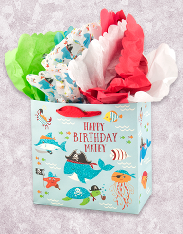 Happy Birthday Matey (Medium Square) Gift Bags