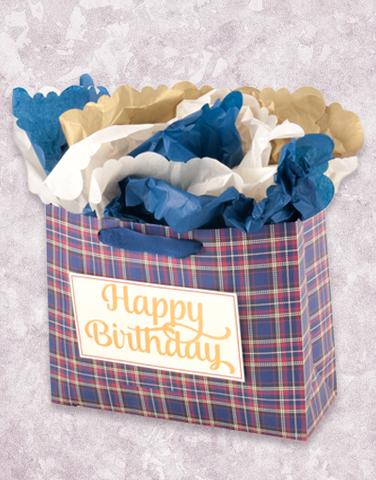 Classic Birthday Plaid (Market) Gift Bags