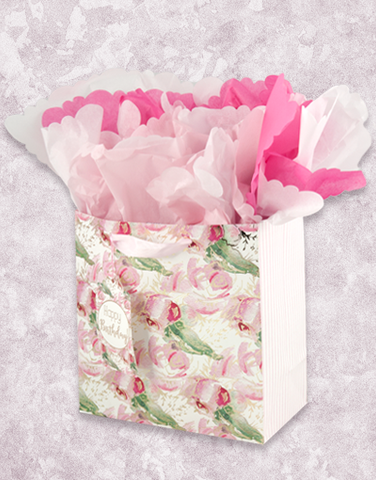 Watercolor Roses (Medium Square) Gift Bags