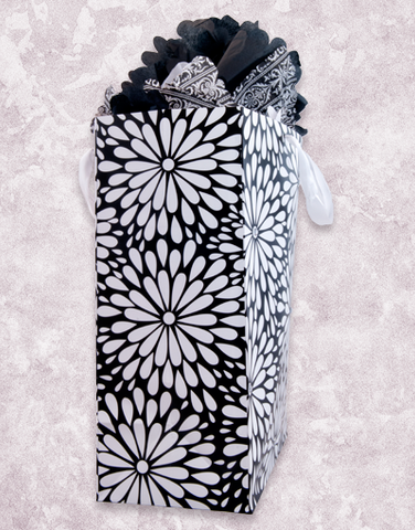 Black and White Dahlias (Jumbo) Gift Bags