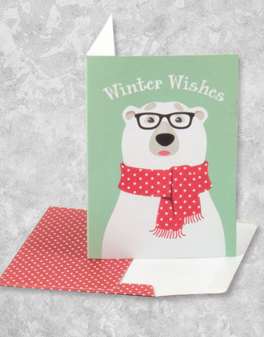 Hipster Polar Bear (16 Count Boxed Christmas Cards)
