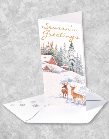 Watercolor Winter Scene (16 Count Boxed Christmas Cards)