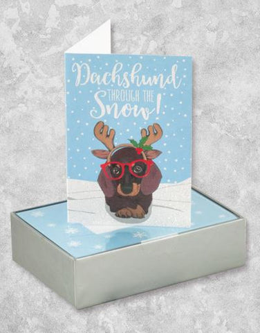 Hipster Dachshund Through The Snow (16 Count Boxed Christmas Cards)